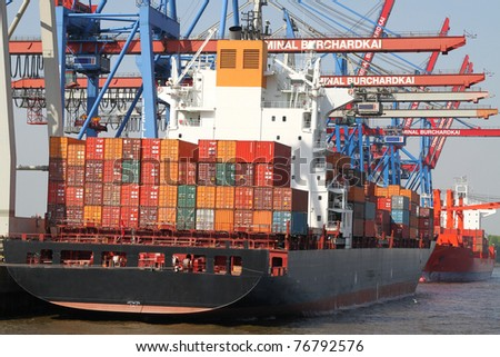 big container vessel in a container port