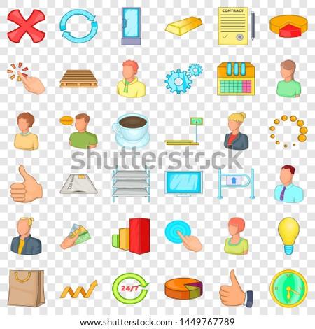 Big corporation icons set. Cartoon style of 36 big corporation icons for web for any design