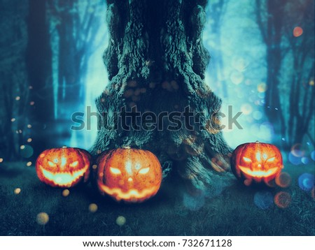Big crooked spooky tree in the night forest with Halloween pumpkins. #732671128