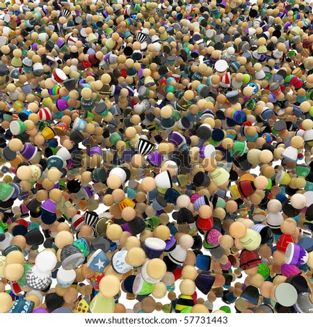 Big crowd of small symbolic 3d figures