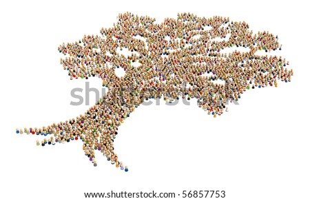 Big crowd of small symbolic 3d figures, over white, isolated