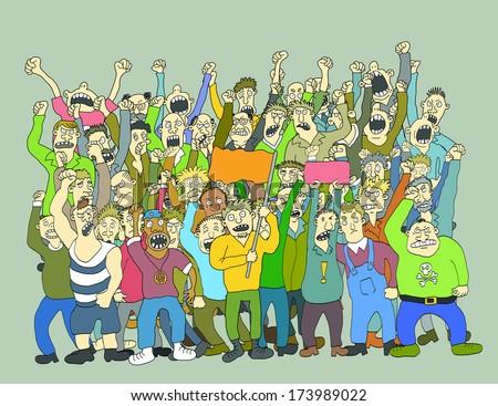 Big Crowd Of Striking People