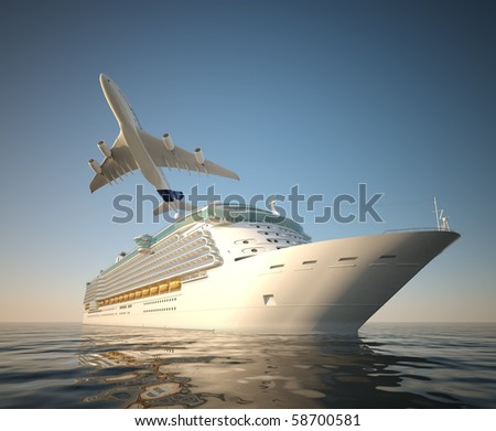 Big cruise ship and plane over the sea as theme for vacations and traveling - stock photo