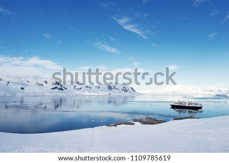 Big cruise ship in Antarctic waters