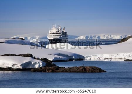 Big cruise ship in Antarctic waters