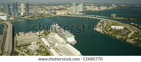 Big cruise ship ready to depart from the Port of Miami, Florida