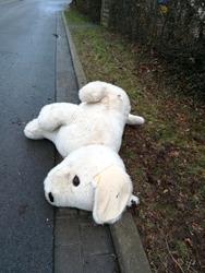 big cuddly toy on the street