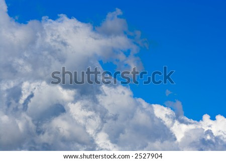 Big cumulus clouds and blue sky