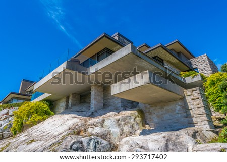 Royalty free custom built luxury modern house on the for Custom build house online