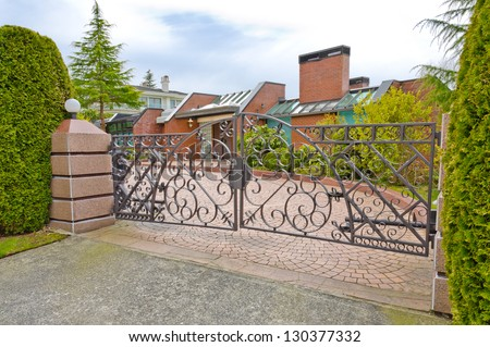 Big custom made luxury  luxury house, residence behind the gates in the suburbs of Vancouver, Canada.