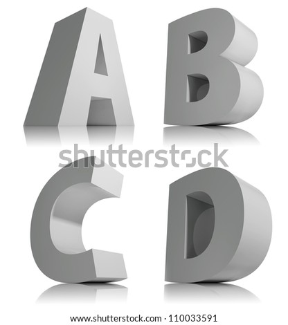 Big 3d letters isolated on white background font, alphabet letter a, b, c, d.
