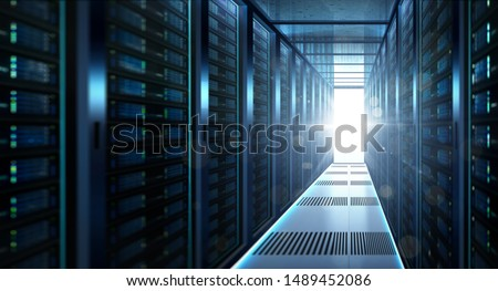 Big data center storage with full of rack servers and light flare effect  .Cloud server room 3D rendering .