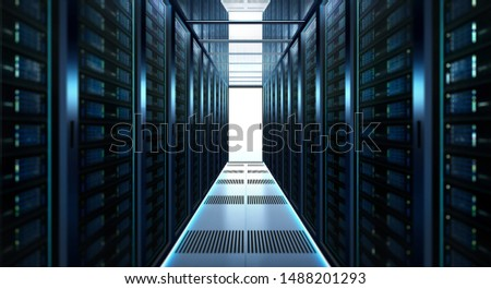 Big data center storage with full of rack servers .Cloud server room 3D rendering .