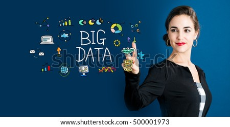 Big Data concept with business woman on a dark blue background