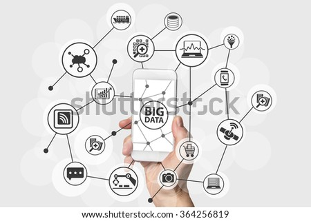 Big Data concept with hand holding modern smart phone #364256819
