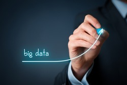 Big data growth (bigdata) concept. Businessman draw accelerating line of data volume.