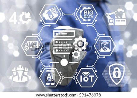 Big data server industry 4.0 concept. Industrial database integration. Computing information manufacturing robotic automation engineering technology. Worker touched Server gear icon on virtual screen #591476078
