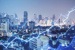 Big data visualization concept with glowing digital growing graphs at abstract city background. Double exposure