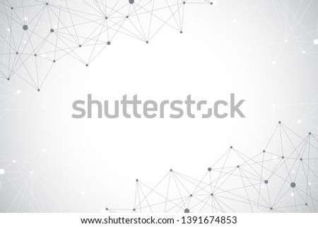 Big data visualization. Geometric abstract background visual information complexity. Futuristic infographics design. Technology background with connected line and dots, wave flow illustration.