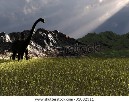 Big Dinosaur walking in the afternoon looking for food - stock photo