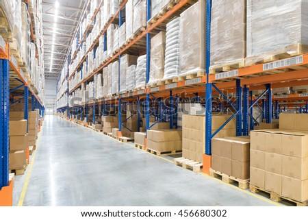 Big distribution warehouse. Interior.