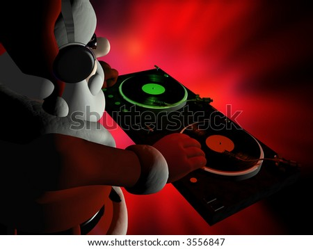 Big DJ SC is in Da House and mixing up some Christmas cheer.  Turntables with vinyl albums.