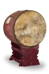 Big drum in a Buddhist temple used for telling midday meal.