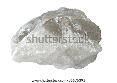Big druse of white quartz isolated over white