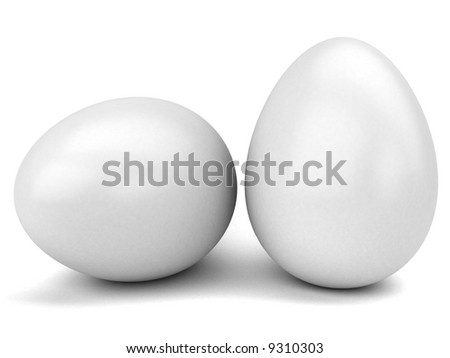 big Easter eggs on a white background