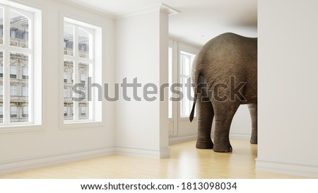 Big elephant in apartment as a funny lack of space and pet concept (3D Rendering)
