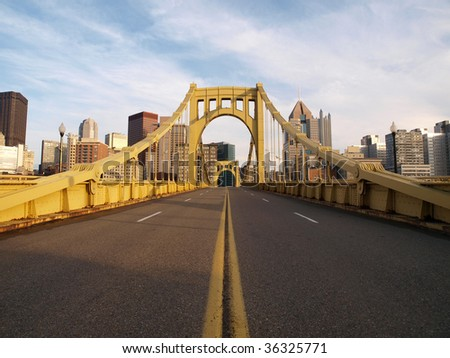 Big empty bridge in downtown Pittsburgh Pennsylvania.