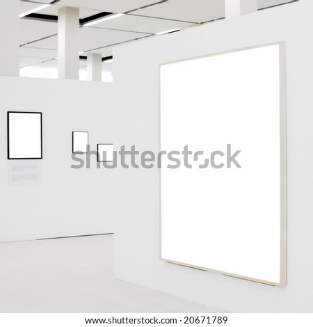 Big empty frame on white wall exhibition and some small