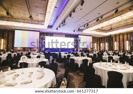 big empty modern meeting,seminar,conference room in hotel (round table) #661277317