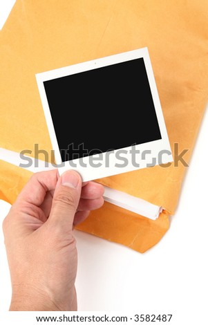 big envelope and photo with white background