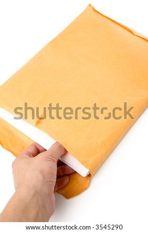 big envelope big envelope and document with white background