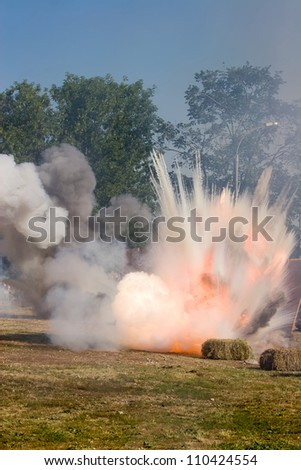 Big Explosion on the field with hay