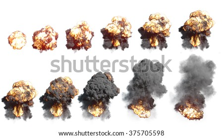 Big Explosion with fire and black smoke. Render 3D