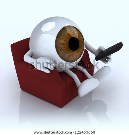 big eye ball watching television from the couch with remote control on white background, 3d illustration