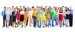 Big family people group isolated white background.