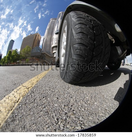 Big Fat Tire close up with fish eye