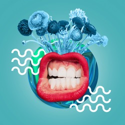 Big female mouth with the white teeth and red lips. Blue flowers and drawn waves against ocean blue background. Negative space to insert your text. Modern design. Contemporary art collage.