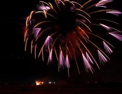 Big fireworks explode in dark background, horizontal photo. Fireworks in Mqabba, Malta, 2021 september