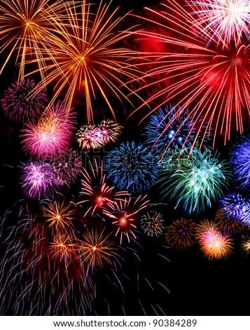Big fireworks festive display collection against dark sky background