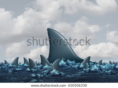 Big fish concept Business metaphor as a group of smaller sharks being overshadowed by a huge domineering shark as a symbol for strength and competition with 3D illustration elements.