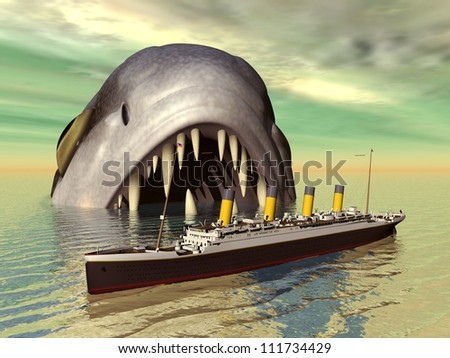 Big fish with ocean liner Computer generated 3D illustration