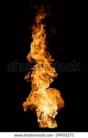 Big Flame on black background - stock photo
