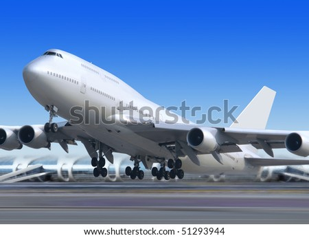 big flying up passenger airplane on airport background - stock photo