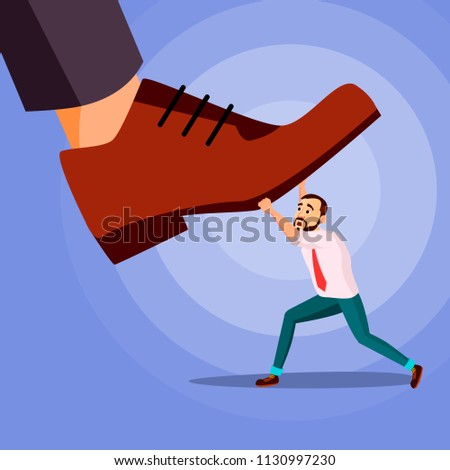 Big Foot Stepping On Businessman. Shoes. Stomping Foot. Oppressed. Confrontation Strategy. Cartoon Illustration