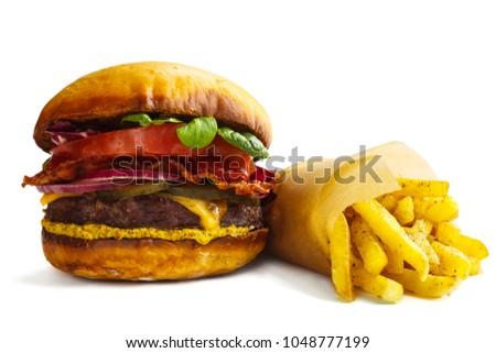 big fresh burger and french...