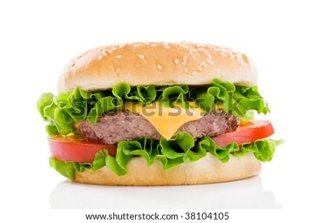 Big fresh delicious hamburger isolated on white background. Professional studio image